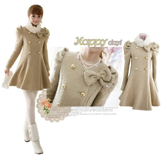 New Fashion 2014 Autumn Women Coat With Fur Collar Double Breasted Bow Long Sleeves Woolen Coat  A318