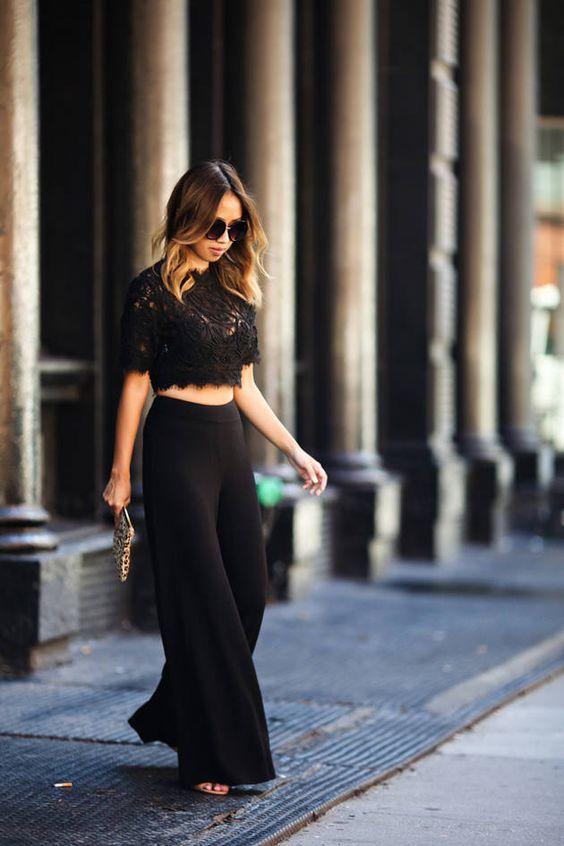 cropped-renda-preto-calça-pantalona-look-como-usar: