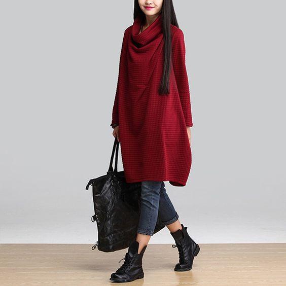 2015 outono moda mulheres sólidos mangas elegante Casual vestidos tamanho mais grosso fêmea em Vestidos de Roupas e Acessórios no AliExpress.com | Alibaba Group