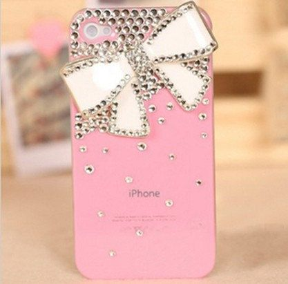 bling pink bow knot studded iphone case iphone by christaetsyshop, $15.00