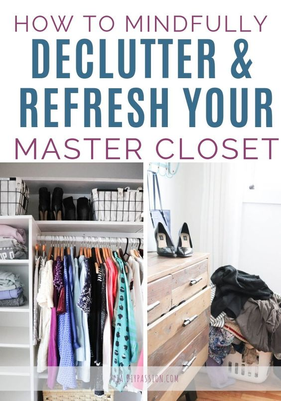 How to declutter and organize your master closet with these useful tips and tricks. Learn how to decide on what to keep, what to donate, and what to toss. Plus, learn more about the capsule wardrobe concept. #closetorganizingtips #howtodeclutter #diypassion