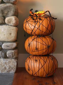 Halloween Pumpkin Topiary With Spiders | DIYNetwork.com: Holidays Halloween Pumpkins, Pumpkin Idea, Decor Ideas, Pumpkin Craft, Pumpkin Design, Craft Ideas, Diy Pumpkin