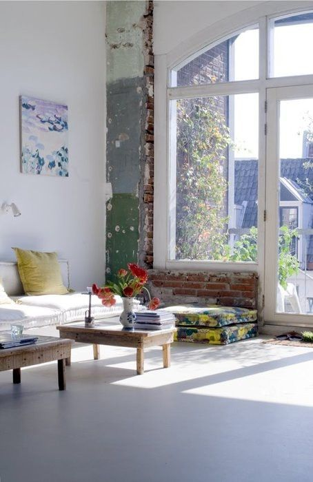 bright interior with distressed wall
