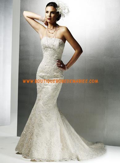 Robe de mariée sirène en dentelle lacets