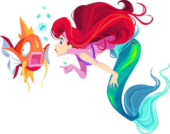 Ariel (The Little Mermaid) and Magikarp. | When 10 Disney Characters Met Pokémon