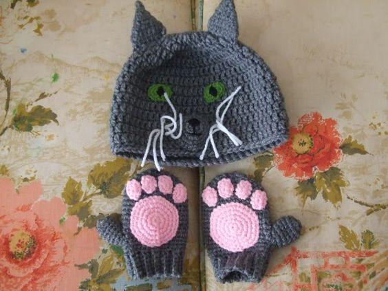 Crocheted cat, unicorn, and frog hats. Super cute!