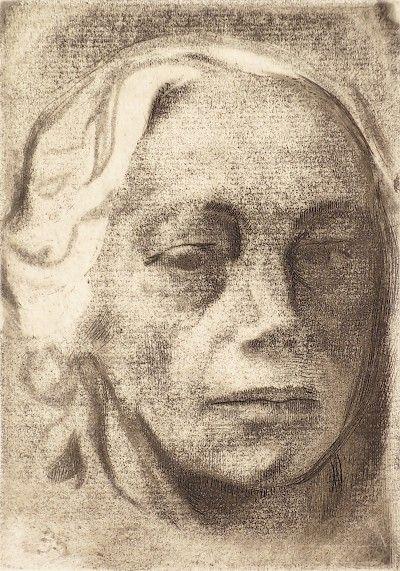 Selbstbildnis (Self-Portrait) c.1912 - Käthe Kollwitz: