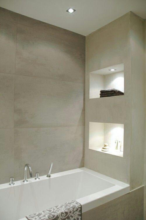Jeroen zijn idee van een open kast aan het bad dit is ook een mooie uitvoering met verlichting - Badkamer kleur idee ...