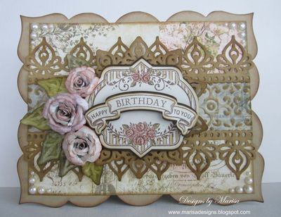 JRC #073 Inspiration Shaped Card #4 - designed by Marisa Job using Vintage Rose Medallions, Anchors Away (Birthday Banner).  JustRite Custom Dies - Nested Oval Medallion, Vintage Labels and Banner Dies.