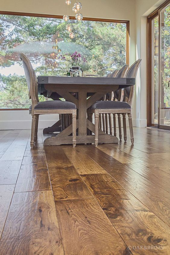 Wide Plank Hand Scraped Hickory Hardwood Floor By Oak And Broad   Detail Of Heavy Farm Table Complimenting Rustic Hand Scraped Floor   Discover more at http://OakAndBroad.com/custom-hand-scraped-hickory-floor-cupertino/
