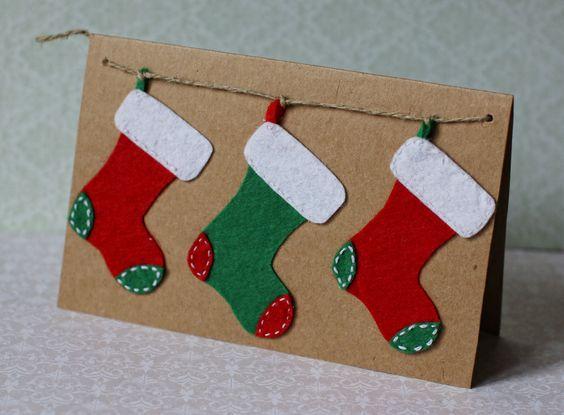 Handmade Christmas postcard#Christmas boots