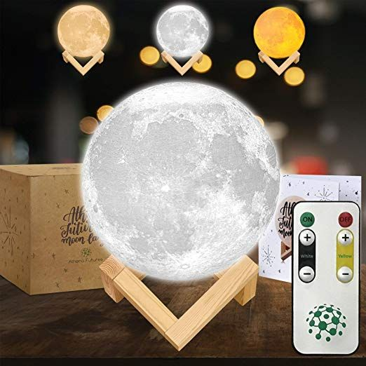 Amazon Com Moon Lamp Moon Light 3d Moon Lamp Seamless 3 Color Moon Night Light With Stand Mood Lamp Book Globe Coo Cool Lamps Wooden Stand Night Light