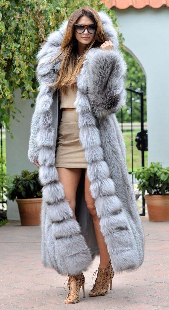 Platinum fox long fur coat hood class- chinchilla sable jacket