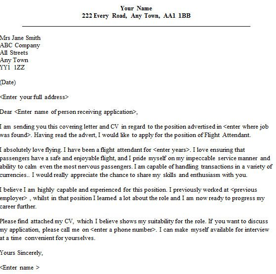 Flight Attendant Cover Letter No Experience from i.pinimg.com