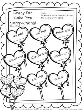 FREEBIE Crazy for Cake Pop Contractions SAMPLE  Valentines Day
