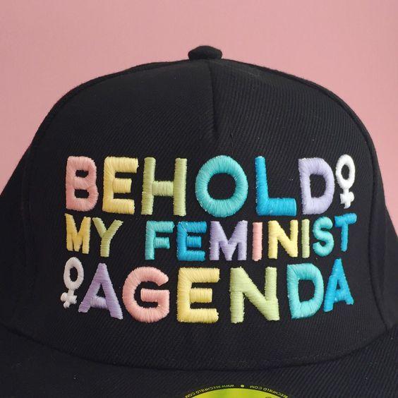 Behold My Feminist Agenda Pastel Rainbow Snapback Cap || Hand Over Your Fairy Cakes