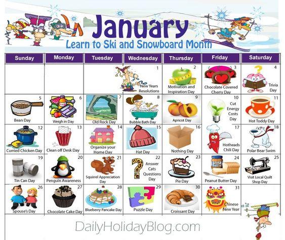 January Calendar With Holidays : January daily holidays calendar for the home pinterest