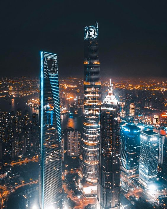 Night view of three giant towers in Lujiazui, Shanghai