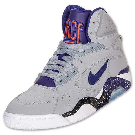 Men\u0026#39;s Nike Air Force 180 Mid Basketball Shoes | FinishLine.com | Wolf Grey/