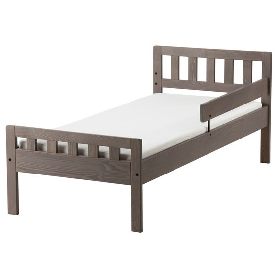 IKEA MYGGA bed frame with slatted bed base Solid wood, a hard-wearing natural material.