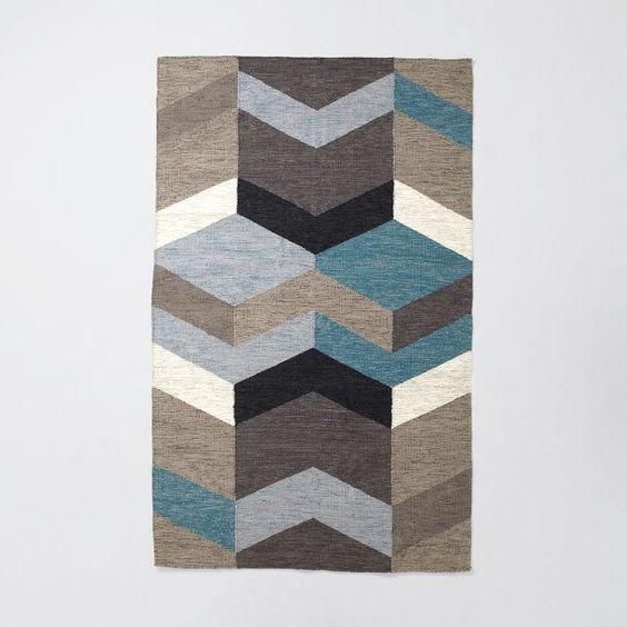 Geo Wool Dhurrie, 5'x8', Blue Teal