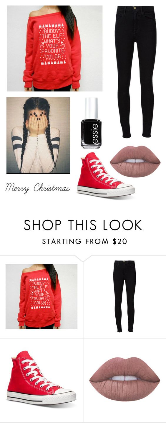 """How I Answer the Phone"" by sav16 ❤ liked on Polyvore featuring Frame Denim, Converse, Lime Crime, Essie, Christmas, elf and buddy"