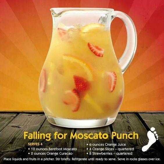 Falling for moscato punch. 12oz moscato, 2oz Orange curaçao, 6oz orange juice, 4 orange slices quartered, 8 strawberries quartered.