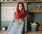 Hooded scarf, red, chunky, christmas, fall, winter, autumn