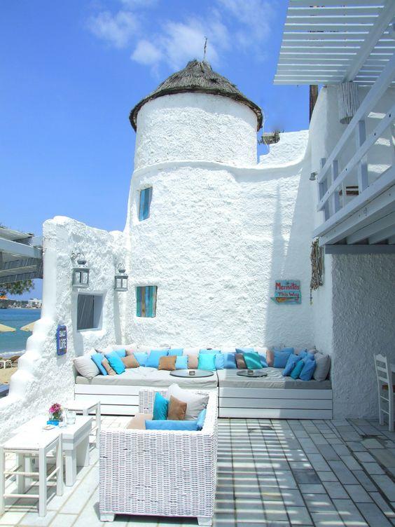 Flisvos beach cafe, Isla Naxos, Grecia