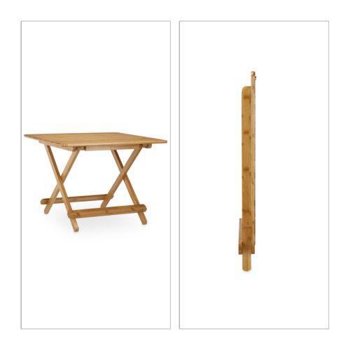Beistelltisch Klappbar Gartentisch Bambus Klapptisch Massivholz