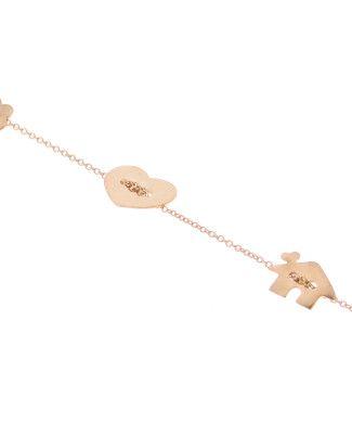 Bracciale oro con charms casetta, cuore, albero. Collezione Gingerini, produzione artigianale Ginger Gioielli