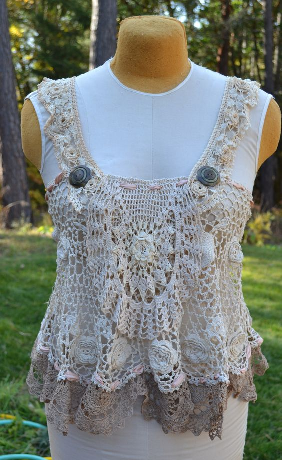 Vintage crochet apron topper with vintage buttoms. Wish I would of kept this one!: