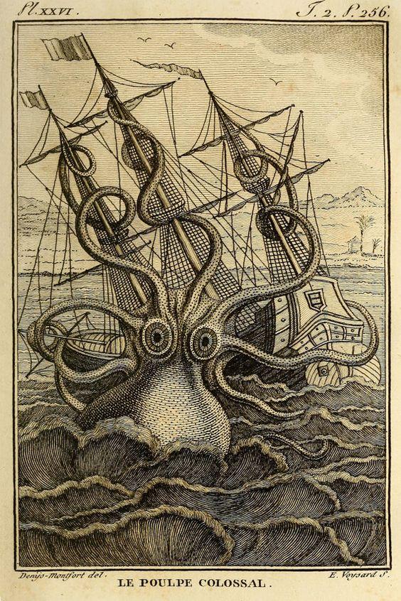 Kraken Octopus Print, Giant Octopus Attacking Ship, Men's Wall Art, Nautical…