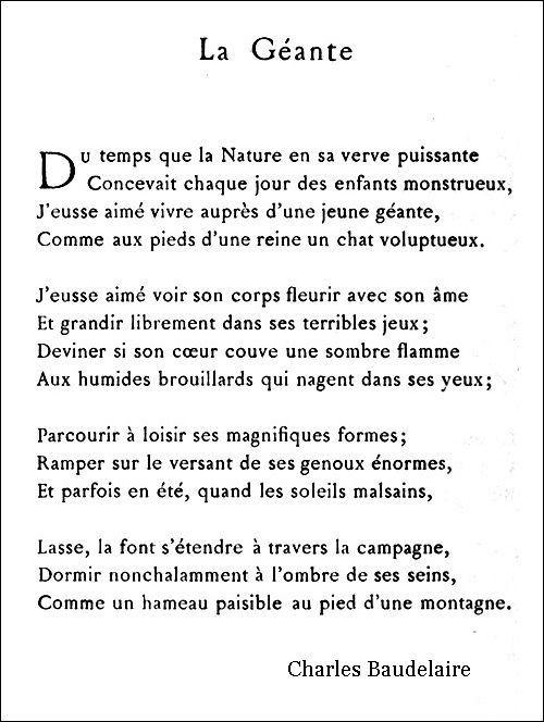 Charles Baudelaire La Géante 1857 Poeme Et Citation