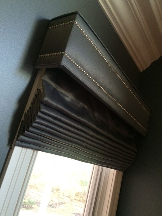 Roman Shade And Nailhead Cornice Cornices Pinterest