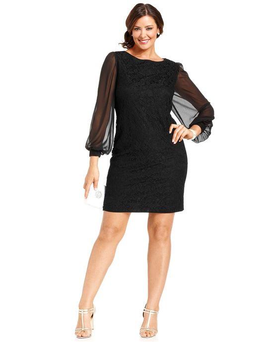 SL Fashions Plus Size Dress Long-Sleeve Lace Sheath - Plus Size ...