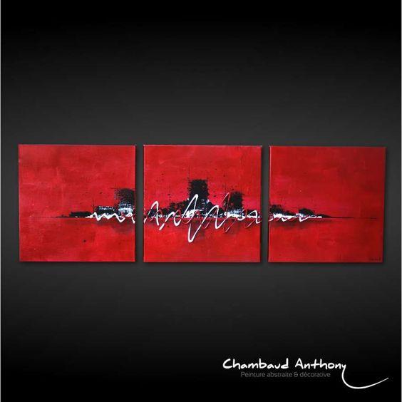 Triptyque tableau rouge ville sur fond rouge maison et - Tableau triptyque contemporain ...