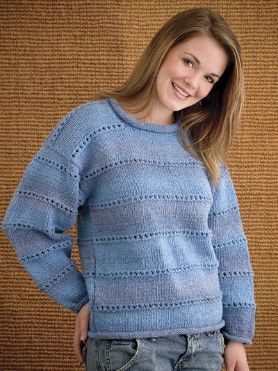 In My Denims Knitting Pattern Download from e-PatternCentral.com -- This pullover is made with self-striping yarn in an easy pattern stitch.