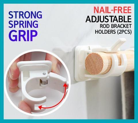 Nail Free Adjustable Rod Bracket Holders 2pcs Plastic Curtains