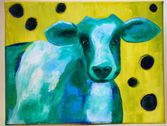 Blue Cow Painting by FreakyPeas on Etsy, $75.00