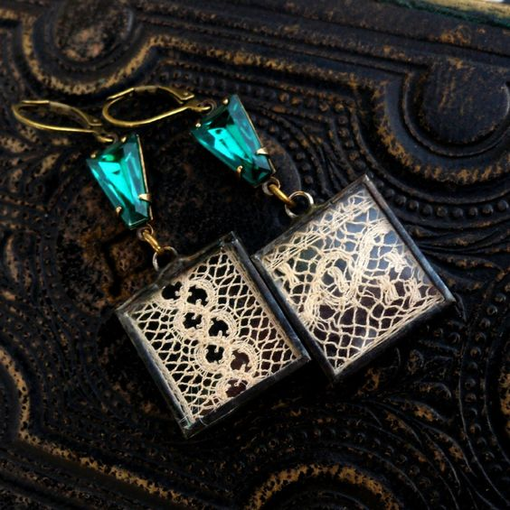 Modern Victorian, Emeralds and Vintage Lace Under Glass Earrings I by HollywoodHillbilly on Etsy https://www.etsy.com/listing/121018887/modern-victorian-emeralds-and-vintage
