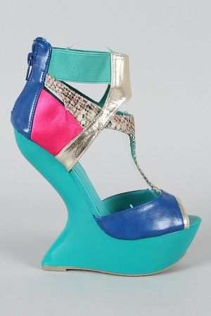 Privileged Blithe Colorblock Snake Heel Less Platform Wedge $56.10