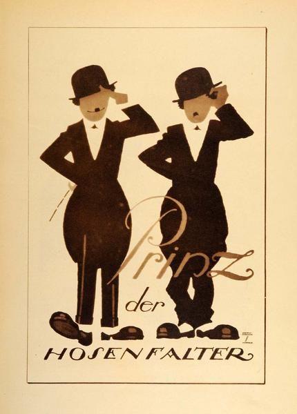 """Prinz der Hosen Falter"" This is an original 1926 photogravure of an advertising poster by Ludwig Hohlwein featuring what we think is Charlie Chaplin, the ""Litt"