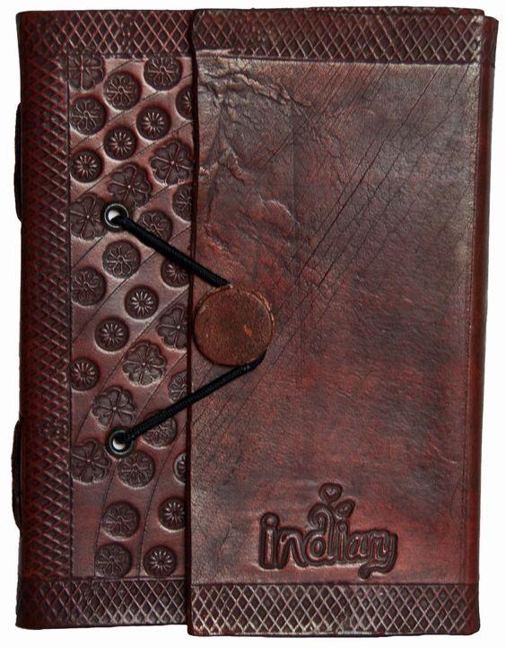 indiary Luxusnotizbuch aus Büffelleder und handgeschöpftem Papier - Stamped Blossoms: Amazon.de: Bürobedarf & Schreibwaren