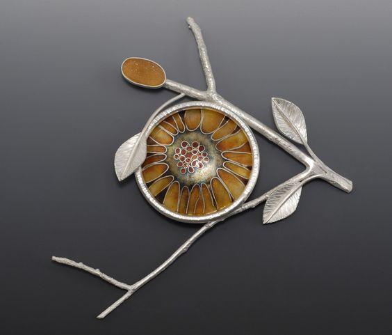Linda Darty: sterling and enamel 'sunflowerweb' brooch.: