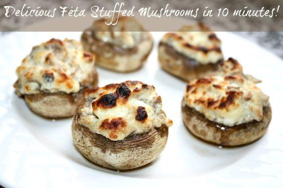 Feta Stuffed Mushrooms Recipe: 3 Weight Watchers PointsPlus | Stuffed ...