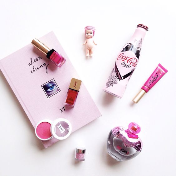 Think pink.   #pinkflatlay #beauty #pink