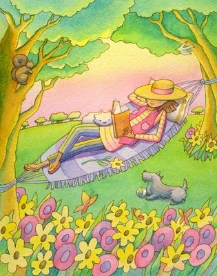 Woman reading in a hammock, cat, dog, squirrel, bird, trees, flowers, by Linda Prater