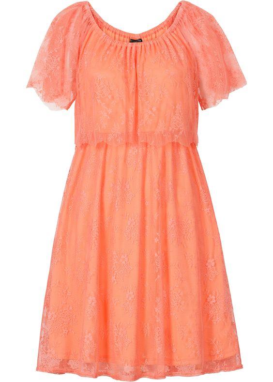 Kanten jurk zalmkleur - RAINBOW nu in de onlineshop van bonprix.nl vanaf ? 29.99 bestellen. Korte schoudervrije jurk met kanten volants en carmenhals. ...