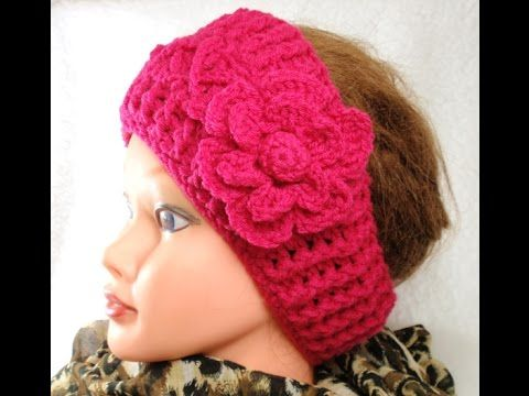Crochet Flower Ear Warmer Tutorial : #Crochet Houndstooth Stitch Headband Ear Warmer #TUTORIAL ...